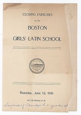 1941 BOSTON GIRLS' LATIN SCHOOL Graduation Program GIRLS Academy BLA Roxbury MA