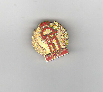 1974 WOMEN'S AMERICAN WORLD ORT Lapel Pin PINBACK Jewish JUDAISM Jew TECHNOLOGY