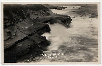 LA JOLLA CALIFORNIA RPPC Real Photo Postcard GOLD FISH POINT Pacific Ocean SD CA