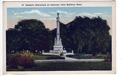 NEW BEDFORD MASSACHUSETTS PC Postcard SOLDIERS MONUMENT Common Park MASS MA