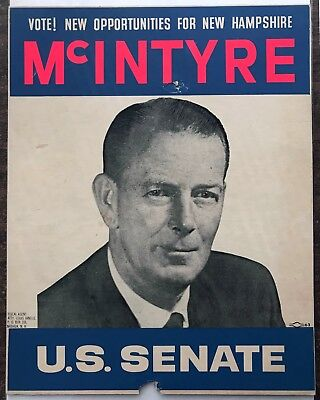 1962 NEW HAMPSHIRE Political SIGN Poster THOMAS MCINTYRE US SENATE Senator NH