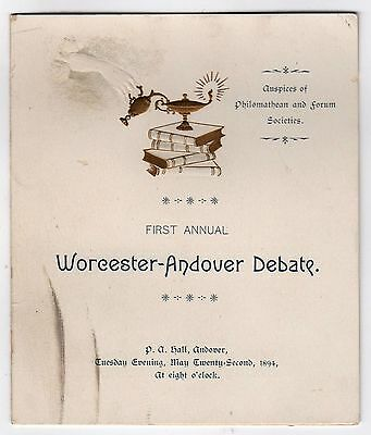 RARE 1894 PHILLIPS ANDOVER Worcester Academy DEBATE PROGRAM 1st Annual PREP