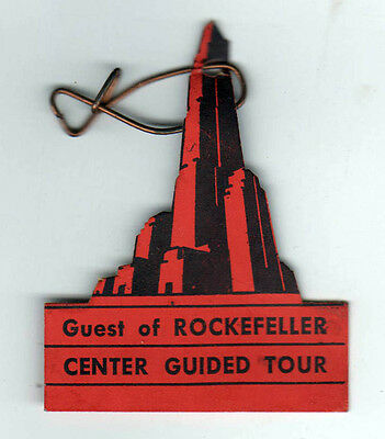 1930s ROCKEFELLER CENTER Guided Tour Ticket BADGE Manhattan NEW YORK CITY NYC