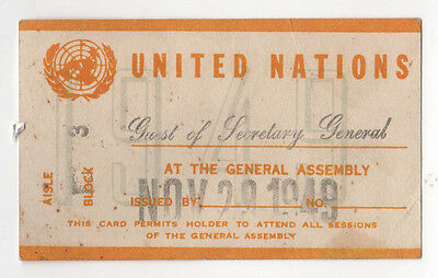 Rare 1949 UNITED NATIONS Secretary General Trygve Lie ASSEMBLY Guest Pass NY