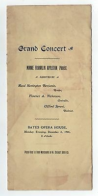 1901 BATES OPERA HOUSE Concert Program ATTLEBORO MASSACHUSETTS Classical MUSIC