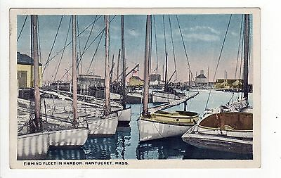 NANTUCKET ISLAND Massachusetts PC Postcard FISHING FLEET IN HARBOR Boats FISH