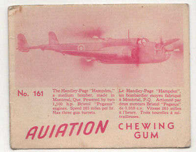 1940s HANDLEY PAGE HAMPDEN Bomber AVIATION CHEWING GUM Card MILITARY RAF Quebec