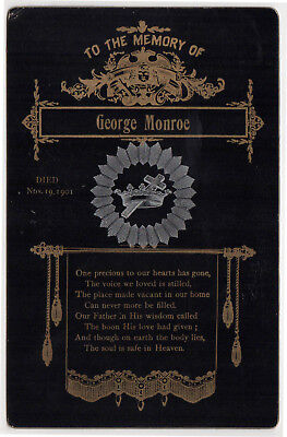 1901 MEMORIAL CABINET CARD Bristol Rhode Island GEORGE MONROE Irish RI Death
