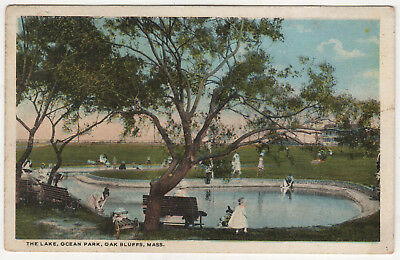 1920 OAK BLUFFS MARTHA'S VINEYARD Massachusetts PC Postcard OCEAN PARK LAKE Mass