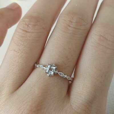 Women's White Gold Cube CZ Sea Blue Cubic zirconia Wedding band Rings Jewelry