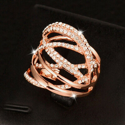 Fashion Hollowing Design Silver Rose Gold Plated Cubic Zirconia Rings For Women