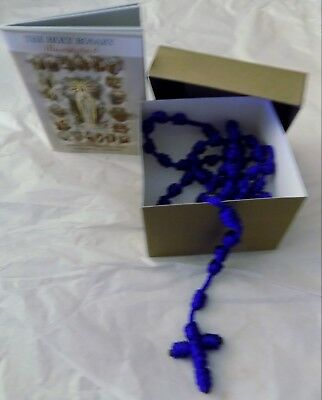 Hand knotted BLUE nylon cord rosary with gift box & illustrated rosary booklet