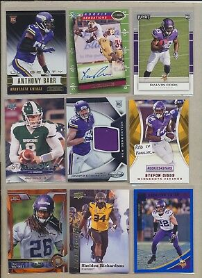 ee064cea MINNESOTA VIKINGS (27) Card Lot Adam Thielen + JERSEY, AUTO, KIRK COUSINS  Rookie