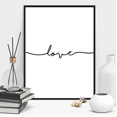 Nordic Line Art Love Letter Printed Canvas Painting Wall Art Pictures Room Decor