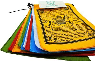 Handmade Tibetan Wind Horse Prayer Flags with English Translation - 6x8