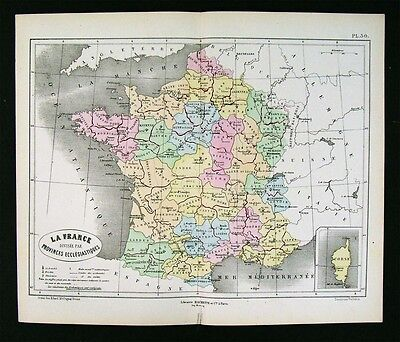 1872 Vuillemin Map France Ecclesiastic Church Cathedral