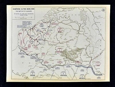 West Point WWII Map Battle of Flanders Evacuation of Holland Belgium June 4 1940