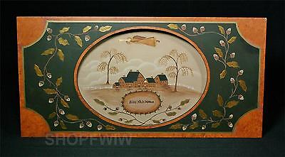 Bless This Home Hand-Crafted Wood Cameo Framed Primitive Folk-Art Picture