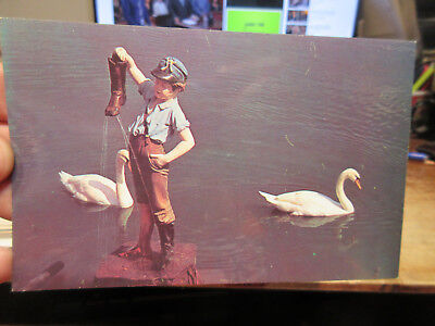 Vintage Old Postcard PENNSYLVANIA Hershey Boy With the Leaking Boot Swan Lake PA