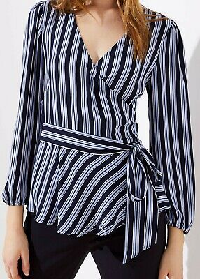 53947595769aef Ann Taylor LOFT Striped Wrap Blouse Top Various Sizes NWT Forever Navy Color