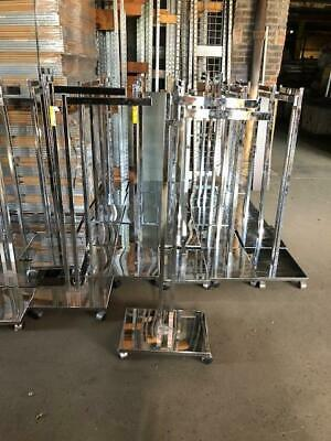 2 Way Clothing Racks T Stand Silver Chrome Rolling Used Clothing Store Fixtures