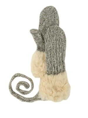 American Rag Women's Faux Fur Cable Knit String Mittens (One Size, Heather Grey)