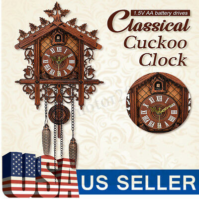 US Classic Vintage Cuckoo Clock Forest Quartz Swing Wall Alarm Handmade Decor