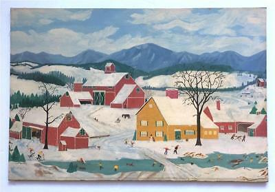 American Winter -E I Soper -1940s Primitive Folk Art Painting Like Grandma Moses