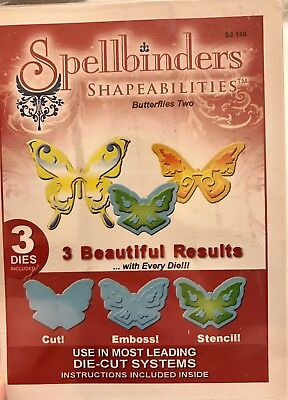 3 Spellbinders set Butterflies Two die lot NEW emboss Stencil Shapeabilites Rare