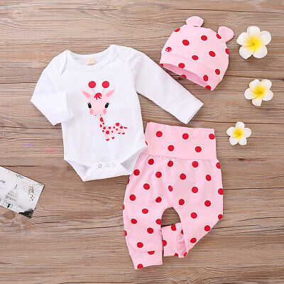 Baby Girl Clothes Romper Tops Jumpsuit Pants Hat Infant Kids 3Pcs Outfits Set