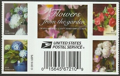 US 5240a Flowers from the Garden forever gutter label block set MNH 2017