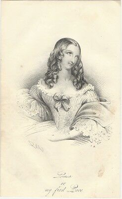 "1842 Lithograph: ""Louisa, or, my first Love"", Attractive Young Woman with Curls"