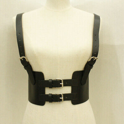 Ladies Leather Body Harness Waist Belts Garter Punk Gothic Collar Vest Black BS