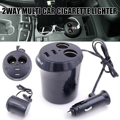 Car Charger Mount 2 Cigarette Lighter Socket Stand USB Charging Cup Holder
