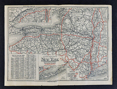 1930 Clason Auto Road Tour Map - New York Niagara Falls Long Island  NY City NYC