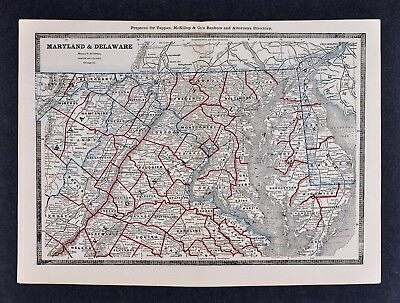 1886 Banker Attorney Map by Cram - Maryland Delaware Washington DC Virginia