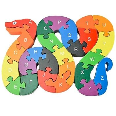 Kids Colorful Wooden Snake Puzzle Blocks 26 Letters Cognitive Educational Toys