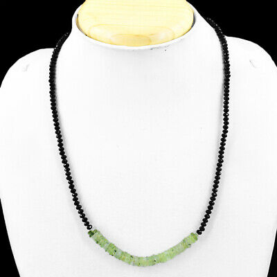 65.00 Cts Natural Green Phrenite & Black Spinel Faceted Beads Necklace NK 18E60