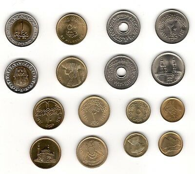 Egypt Ägypten 埃及 エジプト Set of 8 Coins UNC 1 Pound 50 25 20 10 5 2 1 Piasters