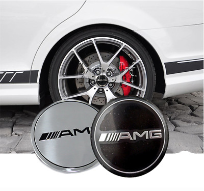 4 STICKERS LOGO AMG SILVER 56mm caches moyeu jante / NEUF