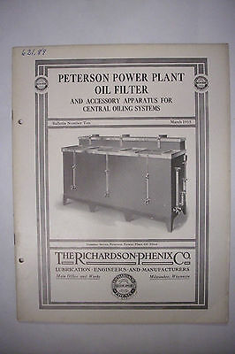 1915 Trade Catalog THE RICHARDSON-PHENIX CO Peterson Power Plant Oil Filter