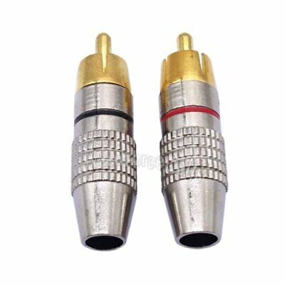 2 pcs Gold Plated Solder Soldering Audio Video RCA Male Plug Adapter Connector