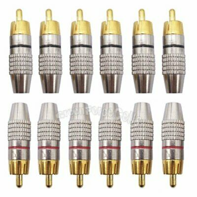 12 pcs Gold Plated Solder Soldering Audio Video RCA Male Plug Adapter Connector