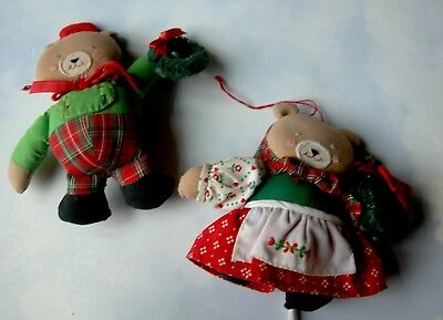 Charming Pair of Vintage Stuffed Teddy Bear Ornaments In Christmas Clothing