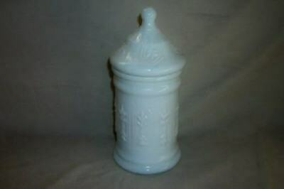 VINTAGE MILK GLASS APOTHECARY BATH JAR Pressed Pattern Chic French Shabby