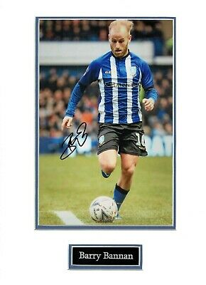 Barry BANNAN Sheffield WEDNESDAY OWLS Signed & Mounted Photo Display 2 AFTAL COA
