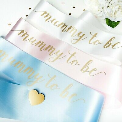 Mummy To Be Satin Sash - Baby Shower Accessory - Pink White Blue