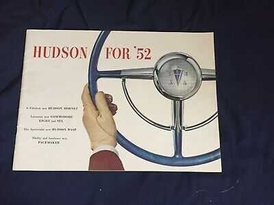1952 Hudson Hornet Commodore Wasp Large Color Brochure Catalog Prospekt