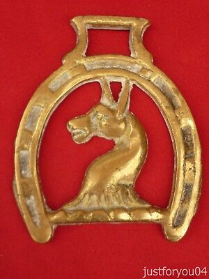 Vintage Solid Horse Brass - Donkey's  Head in a Lucky Shoe Design