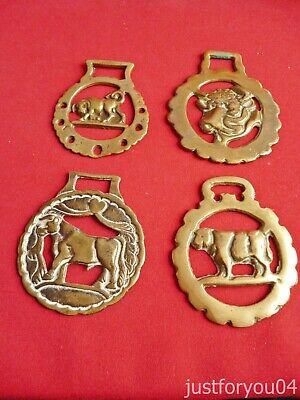 Set of Four Vintage Solid Horse Brass - The Bull  Design